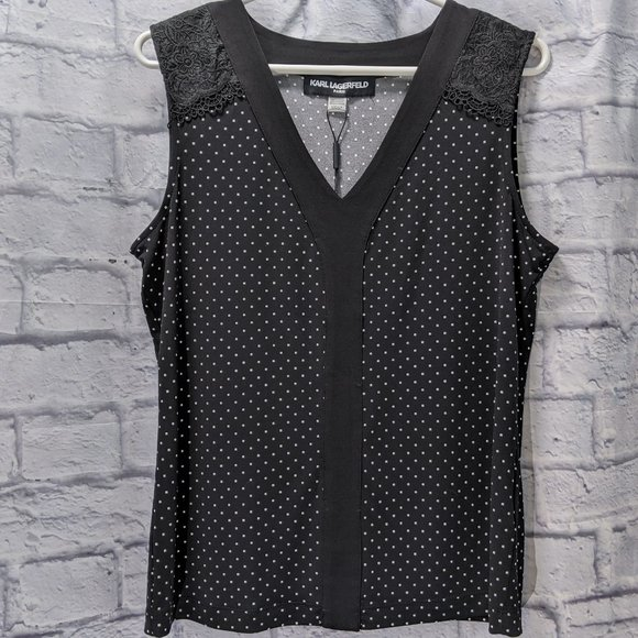 NWT Karl Lagerfield black polka dot blouse